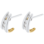 Pendientes acerca Corazón Dúo - oro blanco y amarillo 18 quilates