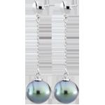 Pendientes Amura oro blanco y perla