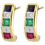 Pendientes Lola - esmeralda, zafiro, rubíes y diamante