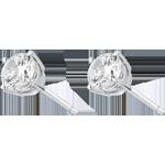 Pendientes oro blanco - diamante 4 garras - 1 quilates