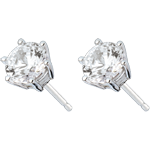 Pendientes oro blanco - diamante 6 garras - 2 quilates