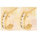 Pendientes semi lunas oro amarillo empedrados - 0.31 quilates - 12 diamantes