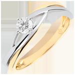 Pierścionek Drogocenne Gniazdo z jednym diamentem - Dova - diament 0,15 karata - złoto białe i złoto żółte 18-karatowe