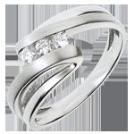 Pierścionek Drogocenne Gniazdo z trzema diamentami - Najada - złoto białe 18-karatowe - 3 diamenty