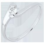 Pierścionek Drogocenne Gniazdo  Wieczna Pasja z jednym diamentem - złoto białe 18-karatowe - 0,14 karata