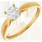 Pierścionek w kształcie trzciny z żółtego złota 18-karatowego z kulą wysadzaną diamentami - 7 diamentów