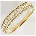 Pierścionek Kwiat Solny - dwie obrączki - złoto żółte 18-karatowe