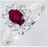 Pierścionek Ponadczasowa Szarotka - rubiny i diamenty - złoto białe 18-karatowe