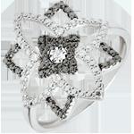 Pierścionek Światłocień z białego złota 9-karatowego i czarnych diamentów - Księżycowy Kwiat