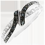 Pierścionek Światłocień Randka - złoto białe 9-karatowe i czarny diament