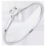 Pierścionek Trzcina z jednym diamentem - 0,03 karata - złoto białe 18-karatowe