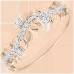 Pierścionek Zaczarowany Ogród - Królewskie Liście - diament i różowe złoto 18-karatowe