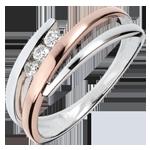 Pierścionek zaręczynowy Drogocenne Gniazdo - Trzy diamenty - 3 diamenty - złoto białe i złoto różowe 18-karatowe