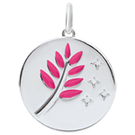 jewelry Pink Lacquer Olive Branch Medal with 4 diamonds - 9ct