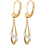 gift women Poetic earrings - two golds - diamonds