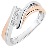 wedding Precious Nest Engagement Ring - Diamond trilogy big model - pink and white gold 9 carats