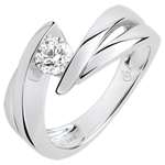 gift woman Precious Nest Solitaire - Ondine - 0.4 carat diamond -white gold 18 carats