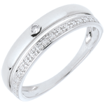 gold jewelry Pretty Wedding Ring - White gold - 9 carats