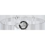 Pulsera Claroscuro - Dúo de Lunas - diamantes negros y blancos