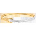 Pulsera doble junco grapa oro amarillo- oro blanco empedrado - 0.32 quilates - 54 diamantes