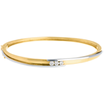 Pulsera junco Triología bipolar oro amarillo-oro blanco - 0.24 quilates - 3 diamantes
