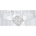 Pulsera Solitario Frescura - Trébol Arabesco - oro blanco 9 quilates y diamantes