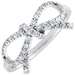 Refinement's Bow Ring - white diamonds - Silver and diamonds