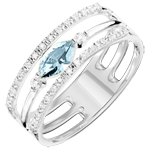 present Regard d'Orient ring - large size - blue topaz and diamonds - white gold 9 carats