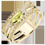 Regard d'Orient ring - large size - peridot and diamonds - yellow gold 9 carats