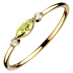 gifts women Regard d'Orient ring - small size -peridot and diamonds -yellow gold 9 carats