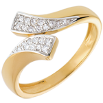 gift Ribbon shaped ring paved yellow gold - 24 diamonds