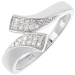 gift women Ribbon-shaped ring white gold diamond paved - 24 diamonds