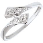 gold jewelry Ribbon-shaped ring white gold paved - 10diamonds