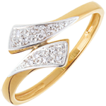 gifts Ribbon-shaped ring yellow gold paved - 10diamonds