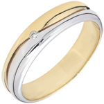 Juweliere Ring Amour - Herren Trauring in Weiß- und Gelbgold - Diamant 0.022 Karat - 9 Karat