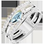 Frau Ring Auge des Orients - Großes Modell - Blauer Topas und Diamanten - 9 Karat Weißgold