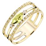 Goldschmuck Ring Auge des Orients - Großes Modell - Peridot und Diamanten - 9 Karat Gelbgold