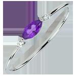 Ring Auge des Orients - Kleines Modell - Amethyst und Diamanten - 9 Karat Weißgold
