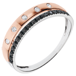 Ring Betovering - Crown of Stars - klein model - roze goud - zwarte en witte diamanten - 18 karaat