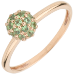gold jewelry Ring Bird of Paradise - ball - rose gold and tsavorite