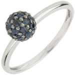 gift women Ring Bird of Paradise - ball - white gold and blue sapphire