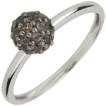 on-line buy Ring Bird of Paradise - ball - white gold and smoky quartz