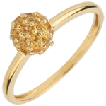 gift Ring Bird of Paradise - ball - yellow gold and yellow citrine