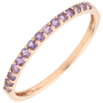 wedding Ring Bird of Paradise - one line - rose gold and amethyst