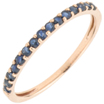 gift women Ring Bird of Paradise - one line - rose gold and blue sapphire
