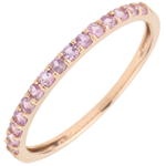 gold jewelry Ring Bird of Paradise - one line - rose gold and pink sapphire