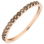 gift women Ring Bird of Paradise - one line - rose gold and smoky quartz
