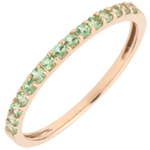 wedding Ring Bird of Paradise - one line - rose gold and tsavorite