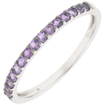 present Ring Bird of Paradise - one line - white gold and amethyst