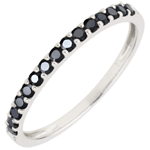 jewelry Ring Bird of Paradise - one line - white gold and black diamonds